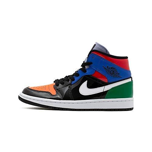 Nike Wmns Air Jordan 1 Mid SE, Zapatillas de básquetbol para Mujer, Black Univ Red Hyper Royal Pine Green Purple Rise Orange Pulse, 38.5 EU