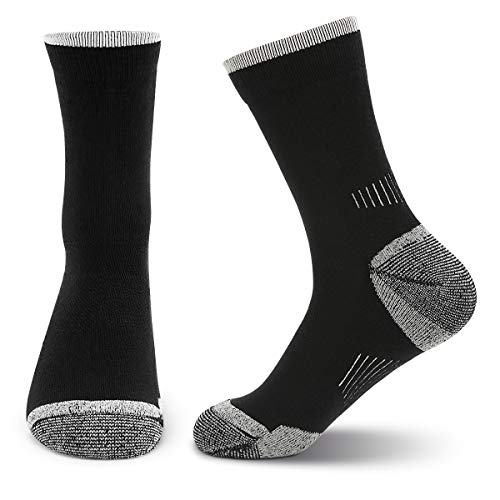 KOOOGEAR 2 Pairs Men's Merino Wool Blend Hiking Socks - Breathable, No Blister, Terry Cushion, for Outdoor Sports Running Walking Trekking Cycling Camping Golf Gym, UK Size 6-9