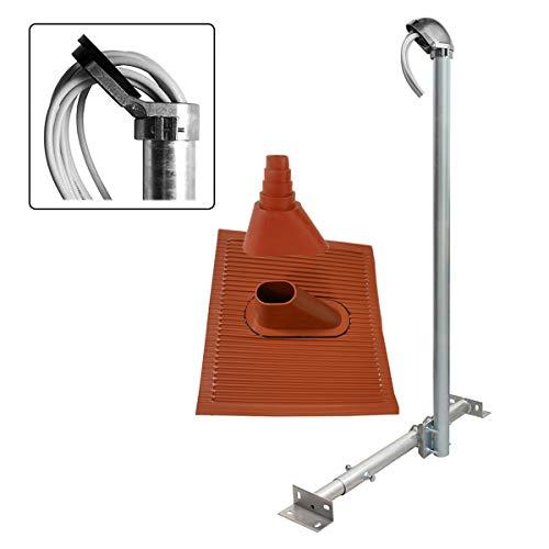 PremiumX Basic X120-48 SAT TV Dachsparrenhalter 120cm Mast 48mm Dach-Sparren-Halterung für Satelliten-Antenne Satellitenschüssel | Dachabdeckung Set rot | Kabeldurchführung ALU-Mastkappe
