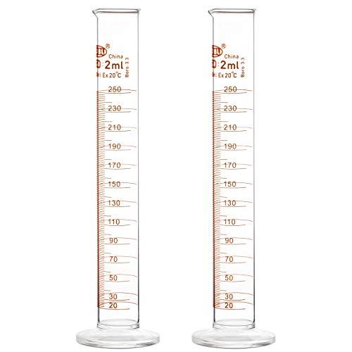StonyLab 2 Pezzi 250 ml Cilindro Graduato in Vetro Borosilicato, Glass Cylinder - 250 ml