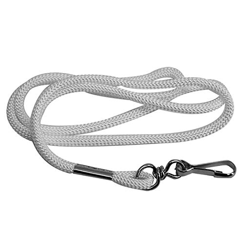 """Lanyard Necklace Coach and Referee - White 1/4"""" Wide Round Braid Woven Boatswain Military Lanyard with Nickel-Plated Steel Swivel Hook for Badge, ID, Whistle - Comfortable to Wear Around Neck"""