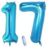 2 globos numeros 17, número 17 azul niñas niño infantil ,40 figuras globo inflable gigante grande de papel de helio number globo azules para cumpleaños 17 años niños decoración de fiesta (xxxl 100cm)
