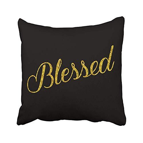 Blessed Gold - Fundas de almohada de lentejuelas metálicas con purpurina sintética, 45 x 45 cm