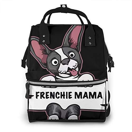 Frenchie Mama French Bulldog Great Dane Dog Diaper Bag Waterproof Travel Backpack Nappy Bags for Baby Care Multiple Pockets for Organization Ideal for Travel Nappy Bags