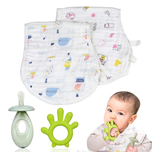 Teething Toys for Babies 0-6 Months,Super Soft Silicone Baby Teething Toys,Baby Bibs 2-Pack and Baby Teether 2-Pack