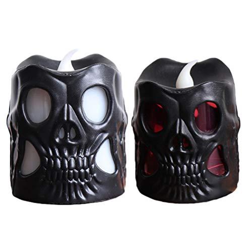 Amosfun - Juego de 2 luces LED con forma de calavera, para Halloween, fiestas, mesas, habitaciones, bares, decoración (negro)