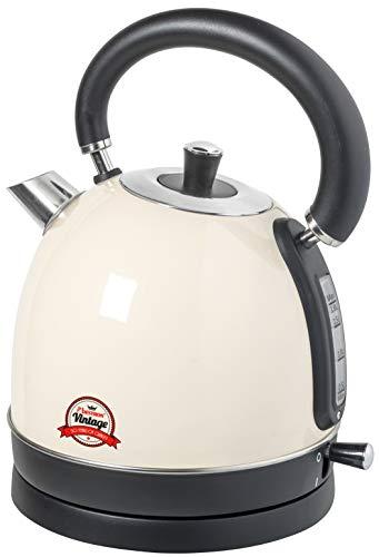 Bestron Wasserkocher im Retro/Vintage Design, 1,8 Liter, 2200 Watt, Edelstahl