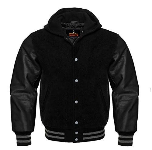 Men's Varsity Jacket Genuine Leather Sleeve and Wool Blend Letterman Boys College Varsity Jackets (All Black(Hoodie), Large)