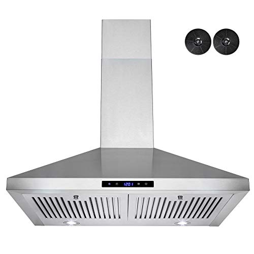AKDY European Style Wall Mount Stainless Steel Range Hood Vent with Touch Control and Carbon Filters (30)