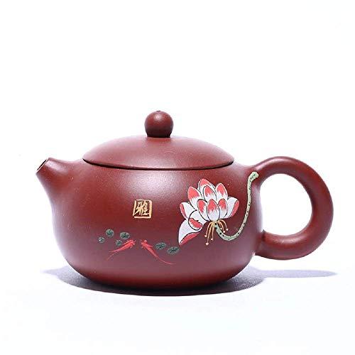 Zisha Teekanne 280ml Zisha Dahongpao Schlamm Handschrift Lotus Xi Shi Chinesisches traditionelles Teeservice