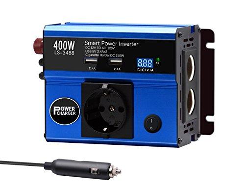 Jacknthe 400W inversor de corriente de coche DC 12V a AC 220V convertidor con salida de CA 2 enchufes de mechero pantalla digital y doble 4,8 A USB puertos de carga adaptador de coche