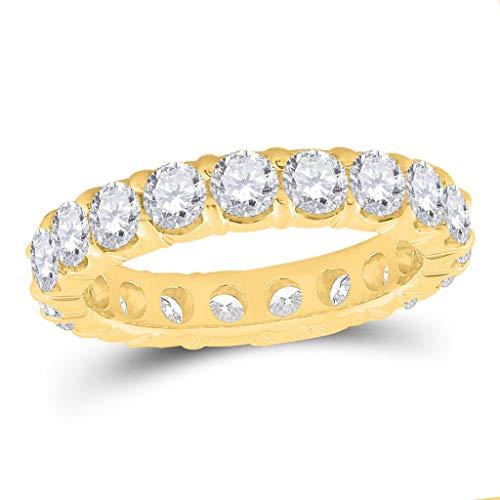 Anillo de boda de oro amarillo de 14 quilates para mujer, redondo, diseño de diamante