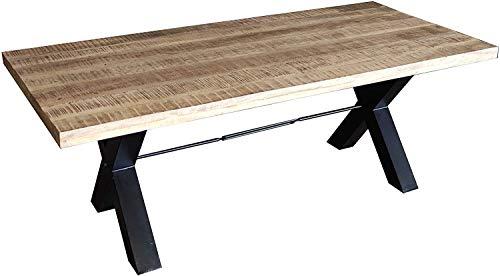 SAM Esszimmertisch Manilo 180 x 90 cm, Mangoholz massiv, naturfarben, Esstisch mit Metallgestell in schwarz, Baumtisch-Platte 55 mm