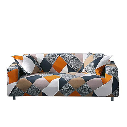 HALOVIE Copridivano Elasticizzato, Copertura Divano Sofa Protezione Universale Decorativa per Divani a 3 Posti (190-230cm) con 1 Fodera per Cuscino (45 * 45cm)