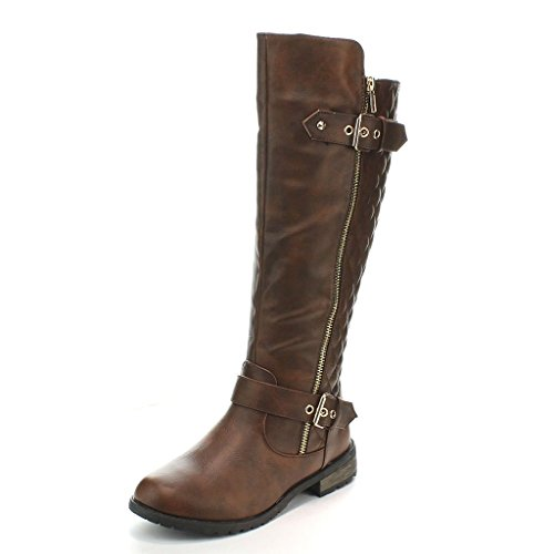 Forever Mango-21 Women's Winkle Back Shaft Side Zip Knee High Flat Riding Boots Brown 6.5