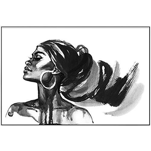 FFTUB Blanco Negro Creatividad Retrato De Niña Impresión De La Lona Imagen De Mujer Impresión De Pared Mural para La Decoración De La Sala De Estar del Dormitorio, Sin Marco,60x90cm