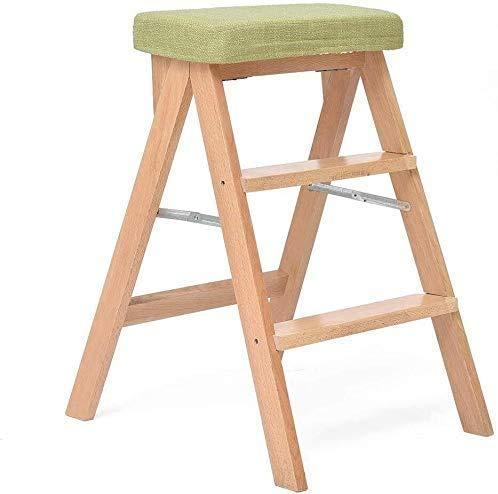Silla plegable Escalera plegable / Escalera / Silla plegable con 3 pasos, de madera Silla Salvaescaleras extendido taburete del asiento de cojines de alta heces for herramientas de jardín Altura 65 cm