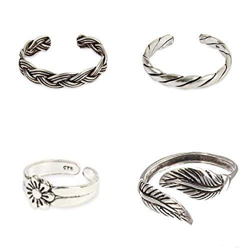 Set Of 4 Sterling Silver Toe rings Flower,Leaf,Woven Plait,Twisted Rope Comes Gift Boxed