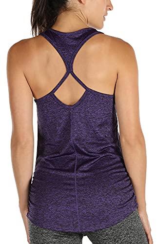icyzone Débardeur de Sport Femme, Shirt sans Manches, Yoga Gym Tank Top (M, Purple)