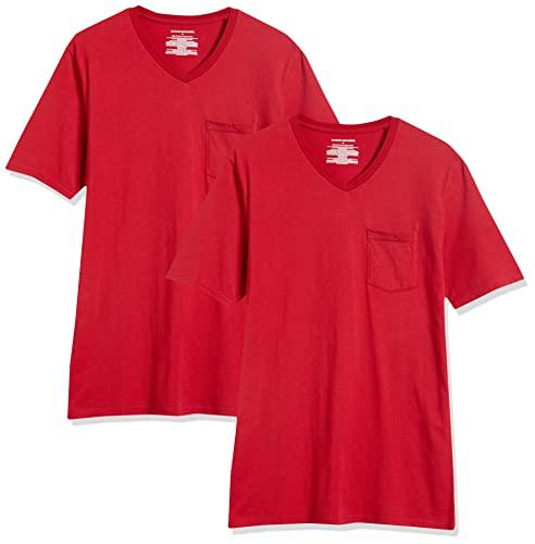Amazon Essentials – Camiseta con cuello en V para hombre (2 unidades), Rojo (Red Red), US S (EU S)