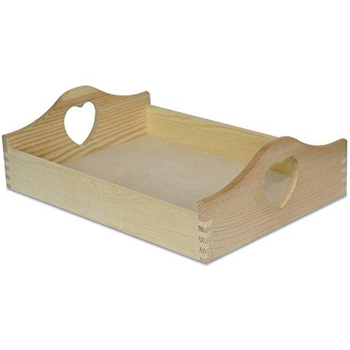 Creative Deco Serviertablett Tablett mit Herz-Griffen | 40 x 30 x 10,5 cm | Holztablett Holz Unbehandelt | Perfekt zum Servieren, Dekorieren, Küche und Frühstück