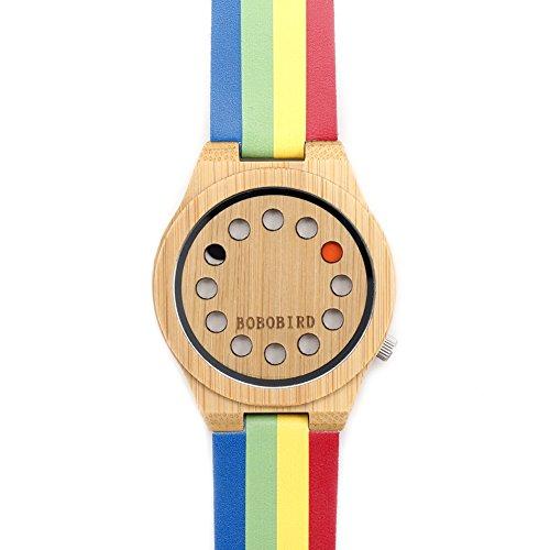 Dilwe Weibliche Uhr, Klassische Freizeit Handgemachte Armbanduhr Regenbogen Hölzerne Uhr Runden Zifferblatt Analoge Quarz Armbanduhr