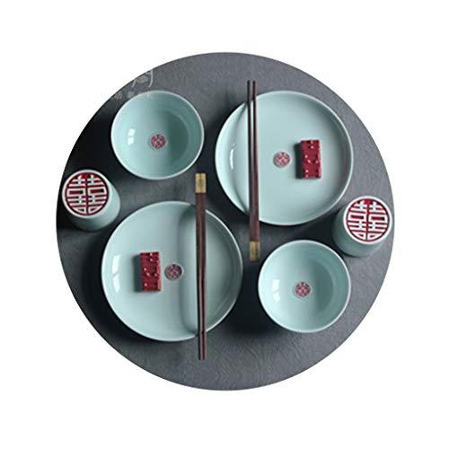Cuencos para arroz Set de vajilla de Regalo Set de vajilla Boutique Tazones y Tazas de Regalo Simples Vajilla de Boda (Color : Natural, Size : Suit)