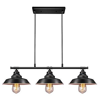 Industrial Kitchen Island Pendant Light, Elibbren Rustic Farmhouse 3-Lights Pendant, Vintage Hanging Light Fixture for Kitchen Dining Room