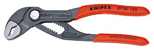 KNIPEX 87 01 125 Cobra® Hightech-Wasserpumpenzange grau atramentiert mit rutschhemmendem Kunststoff überzogen 125 mm