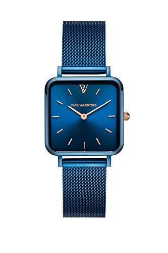 PAUL VALENTINE  Reloj de Pulsera Glossyedge para Mujer de Acero Inoxidable, Correa de Malla, Elegante Reloj de Mujer con Mecanismo de Cuarzo japonés