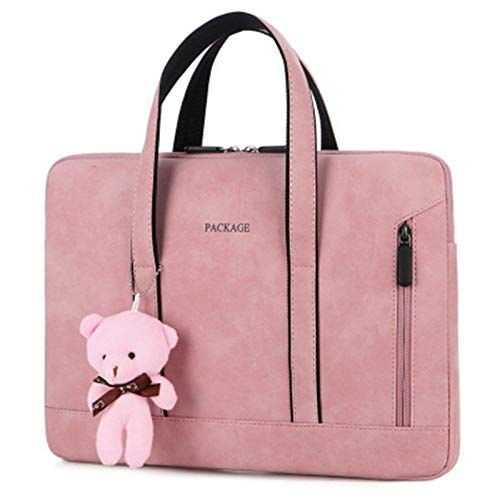 Laptop Bag 13 14 15 15.6 Inch Handbag Women Notebook Bag for Macbook Pro Air 13 Case Xiaomi Asus PU Leather Luxury Computer Bag (Color : Pink Bear, Size : For 15 inch)