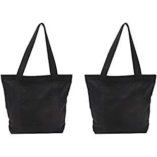 Augbunny Heavy Duty 100% Cotton Canvas Zipper Beach Shoulder Grocery Tote Bag With Outer Pocket 2-pack:Comoparardefumar
