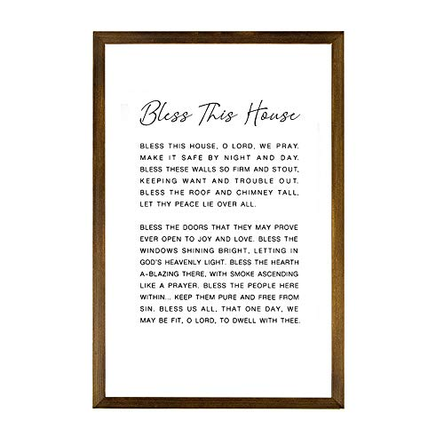 TattyaKoushi Wooden Frame Decor Sign, Bless This House Irish Blessing Print Sign Quote Art Wedding Gift Prayer Wall Art Decor Simple Saying Bless Celtic Christian Gifts, 8x12 Inch, Carbonize Frame