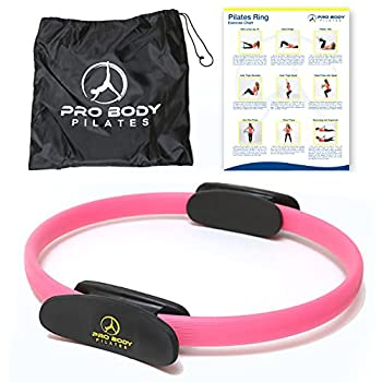 ProBody Pilates Ring Circle - Fitness Magic Circle Yoga Ring Inner Thigh Toner Pilates Equipment for Strength Flexibilty Abs Core and Legs - Includes Workout Bag for at Home Exercise  Pink