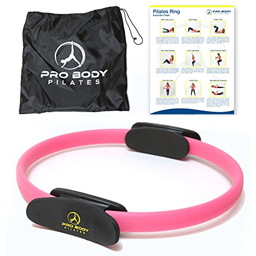 ProBody Pilates Ring Circle - Fitness Magic Circle, Yoga Ring, Inner Thigh Toner, Pilates Equipment for Strength, Flexibilty, Abs, Core and Legs - Includes Workout Bag for at Home Exercise (Pink)