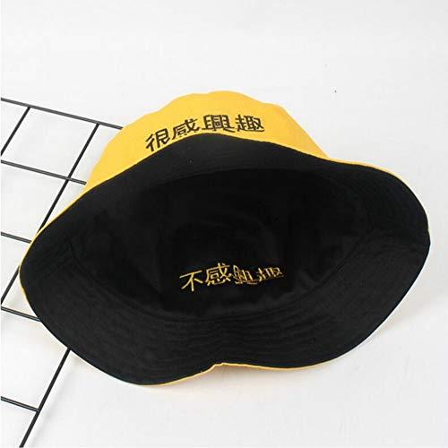 RDFYM In Dusche Chinesische Brief Stickerei Reversible Bucket Hat Zwei SeiteHut Baumwolle Schwarz Gelb Angeln Hut Männer, A