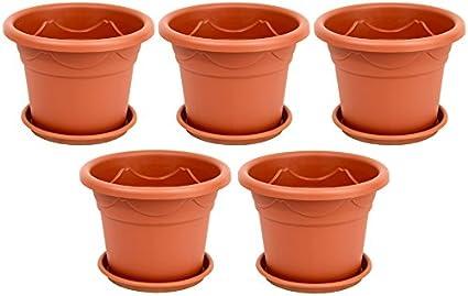 Braun Untersetzer 5 Stück Untersetzer Ø 13 cm für Blumentöpfe bis 10 cm