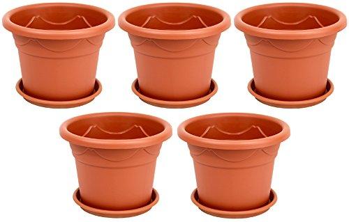 5-er Set Pflanzkübel + Untersetzer Blumenkübel Blumentopf Pflanztopf Rundtopf S - XXL (Braun, 30 cm)