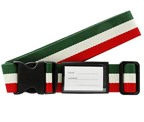 ワンタッチ スーツケースベルト ( ネーム タグ 付き) 国旗柄 イタリア 240201