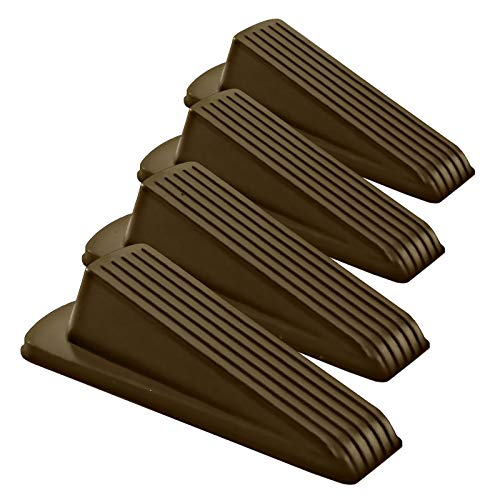Classic Rubber Door Stopper Wedge – Sturdy and Stackable Door Stop, Multi Floor Doorstop Ensures Tight Fit for Gaps up to 1.2 Inches (4 Pack, Brown)