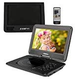 ZESTYI 11' Portable DVD Player for Kids with 9' Swivel Screen, Car Headrest Mount Holder, Rechargeable Battery, Wall Charger, Car Charger, SD Card Slot, USB Port & Swivel Screen (Black)