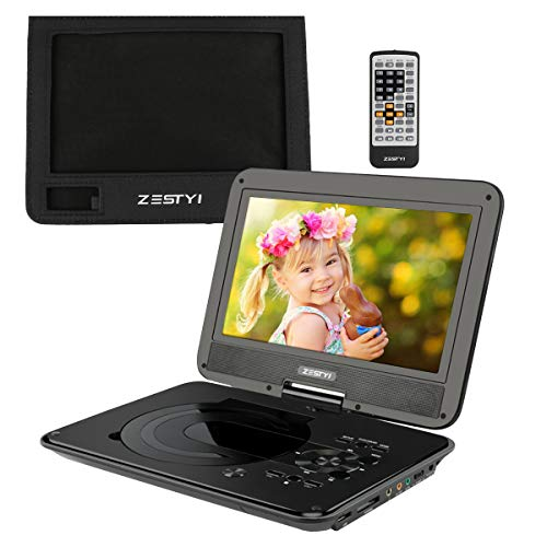 """ZESTYI 11"""" Portable DVD Player for Kids with 9"""" Swivel Screen, Car Headrest Mount Holder, Rechargeable Battery, Wall Charger, Car Charger, SD Card Slot, USB Port & Swivel Screen (Black)"""