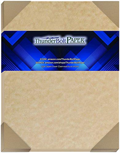 50 Light Brown Parchment 60# Text (=24# Bond) Paper Sheets - 8.5 X 11 Inches Standard Letter|Flyer Size - 60 Pound is Not Card Weight - Vintage Colored Old Parchment Semblance