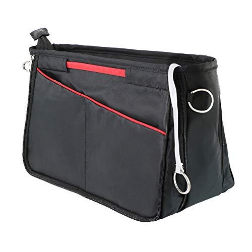 HyFanStr Handtaschen Organizer aus Nylon, Erweiterbar Handtaschen Organizer Bag in Bag Innentaschen für Handtaschen mit Schlüsselkette Schwarz