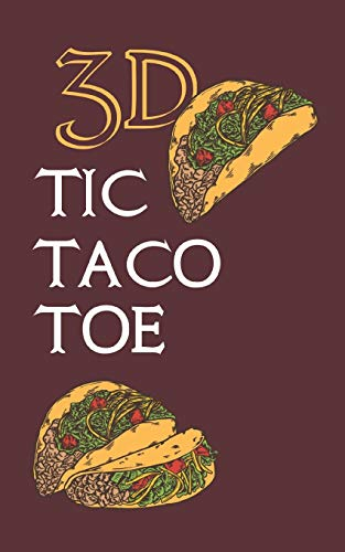 3D TIC TACO TOE: 180 Blank Game Grids Gift Book Cranberry Taco Motif Convenient Glove Compartment & Purse Size With Instructions