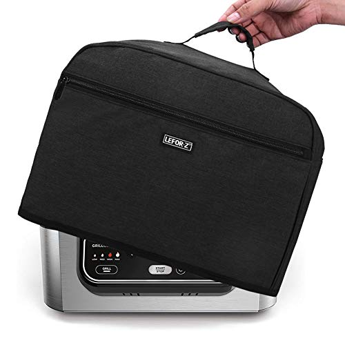 LEFOR·Z - Funda para polvo compatible con parrilla Ninja Foodi (AG301, AG302, AG400), resistente al agua con bolsillos de almacenamiento, color negro