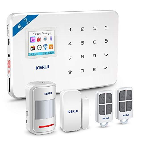 KERUI W18 Alarm System 1 Host Control 1 Tür- und Fenstersensor 1 Bewegungsmelder 1 Fernbedienung 2.4 GHz Wi-Fi App IOS Drahtloser Diebstahlsicherungssystem für Hause Aussensirene Englische Version
