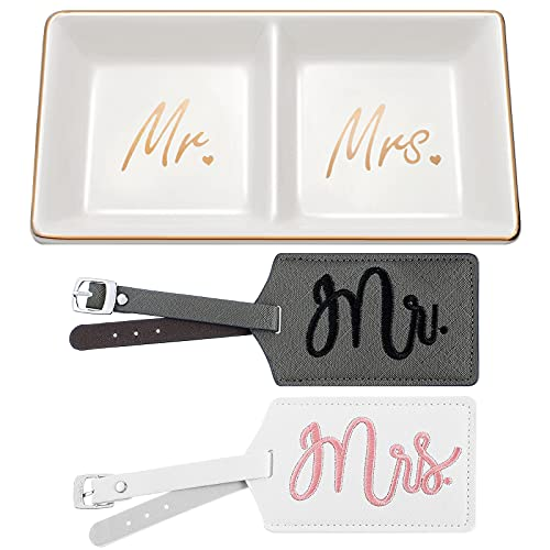 Mr Mrs Ring Dish Ceramic Trinket Tray Wedding Engagement Jewelry Ring Holder with 2 Pieces Mr and Mrs Luggage Tags Faux Leather Travel Tags for Wedding Bridal Shower Honeymoon Newlyweds