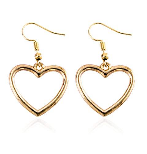 NOBRAND Pendientes de Amor de Oro Dulce con Forma de corazón geométrico Hueco de niña Linda Suave Japonesa