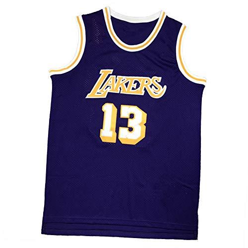 XGYD Chamberlain Camisetas de baloncesto 13 #, tela juvenil retro bordado de malla transpirable sin mangas chaleco de regalo, color morado neutro, XL
